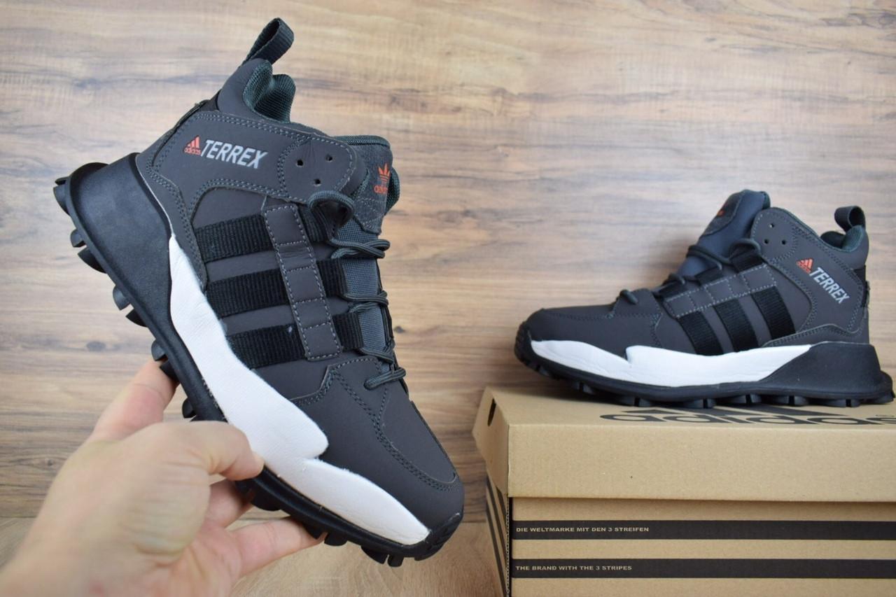 Мужские зимние кроссовки Adidas Terrex (серые) 3490