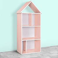 Домик-стеллаж-полка для игрушек и книг H 2020-12-2 розовый Сердечки
