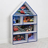 Домик стеллаж полка для игрушек и книг PLK-B-2b-b Тачки бело-синий