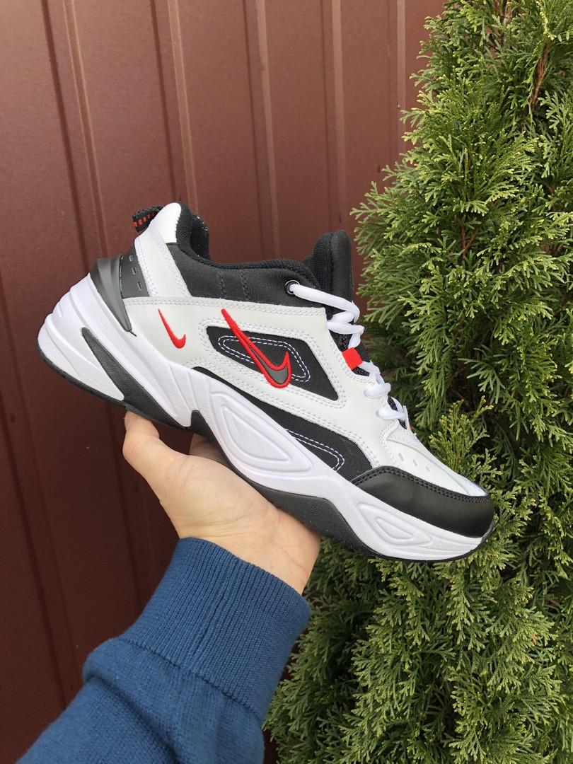 Мужские кроссовки Nike M2K Tekno (бело-черные с красным) 10111