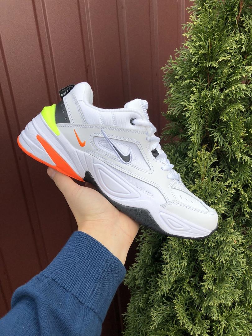 Мужские кроссовки Nike M2K Tekno (бело-оранжевые) 10112