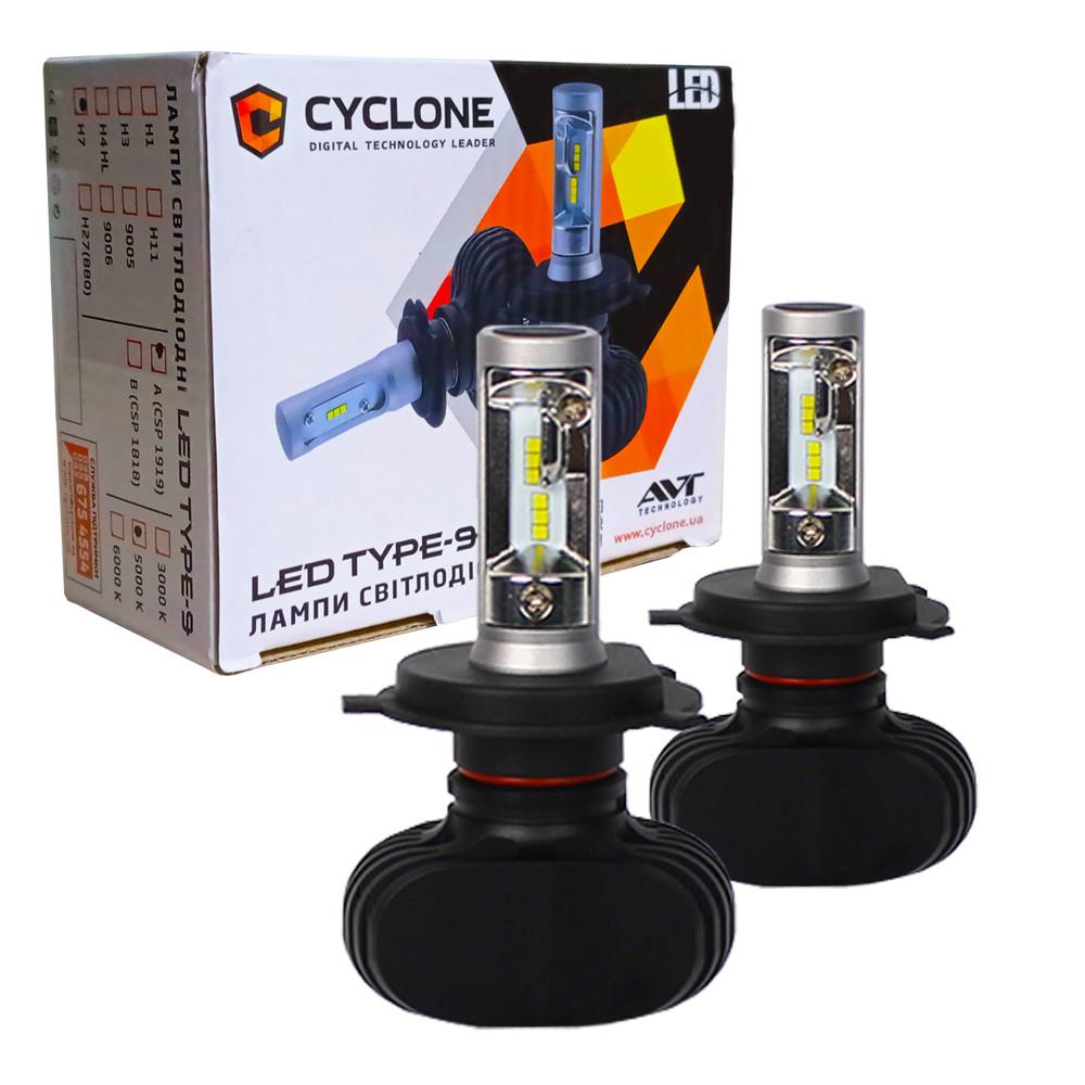 Лампа светодиодная для фар CYCLONE LED H4 HI/LOW 5000K 4000LM TYPE 9 V3