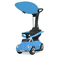 Детская каталка-толокар 2 в 1 JQ618L-4 родительская ручка крыша машина с мотором синий