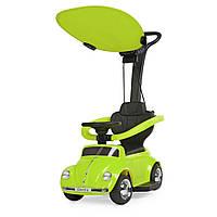 Детская каталка-толокар 2 в 1 JQ618L-5 родительская ручка крыша машина с мотором зеленая