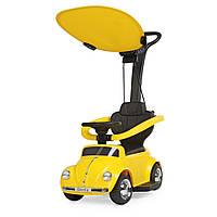 Детская каталка-толокар 2 в 1 JQ618L-6 родительская ручка крыша машина с мотором желтая
