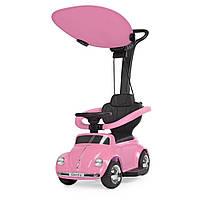 Детская каталка-толокар 2 в 1 JQ618L-8 родительская ручка крыша машина с мотором розовая