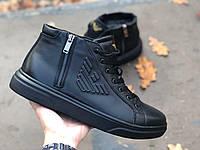 Мужские зимние ботинки натуральная кожа, кожаные черные. Зимняя мужская обувь кожаная, зима