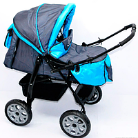 Коляска детская Karina Viki/86-C-13 темно-серый с голубым