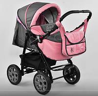 Коляска трансформер детская Karina Viki/86-C-15 серо-розовая