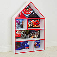 Домик стеллаж полка для игрушек и книг PLK-B-2A Тачки бело-красный