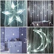 Светодиодная гирлянда штора Звезды и луна с пультом на окно елку холодный белый