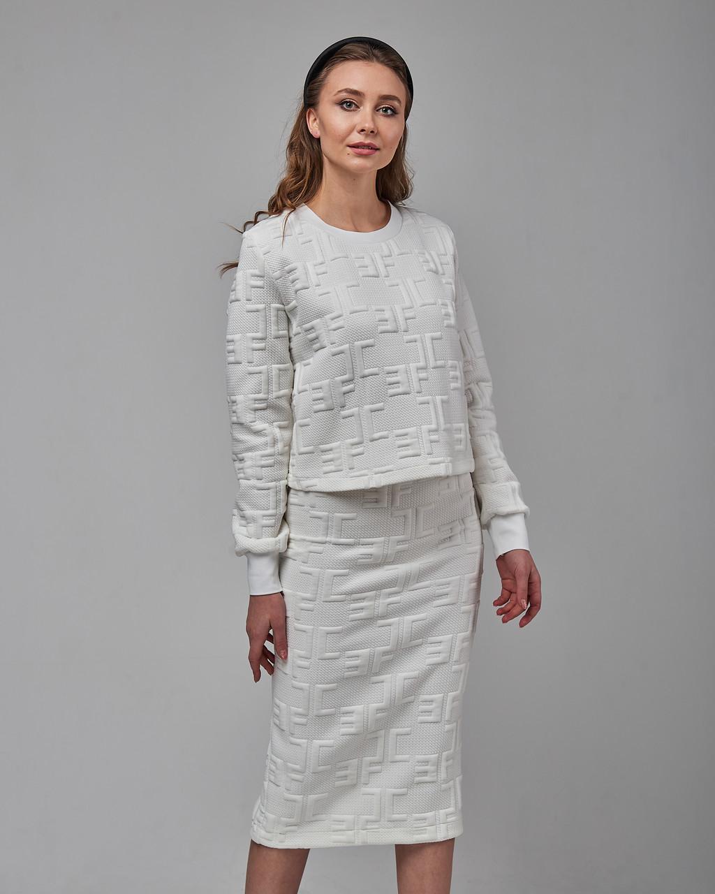 Трендовый теплый женский костюм двойка (кофта и юбка). Турция