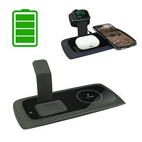Беспроводная зарядная док станция для телефона наушников смарт часов Зарядка 3в1 Wireless charging QI