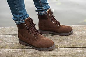 Мужские ботинки Timberland, (Мех) коричневые