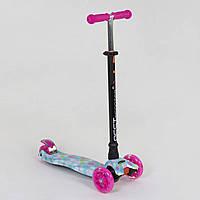 Самокат кикборд Розовый самокат для девочки от 2-х лет Трехколесный самокат Очень устойчив