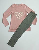 Трикотажный комплект для девочки с лосинами и кофтой розового цвета, р.134-140