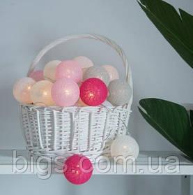 Гирлянда Шарики 4,5 м, USB розовые шарики
