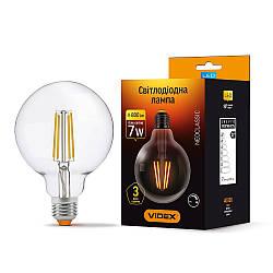 LED лампа VIDEX Filament G95FD 7W E27 4100K 220V диммерная (VL-G95FD-07274)