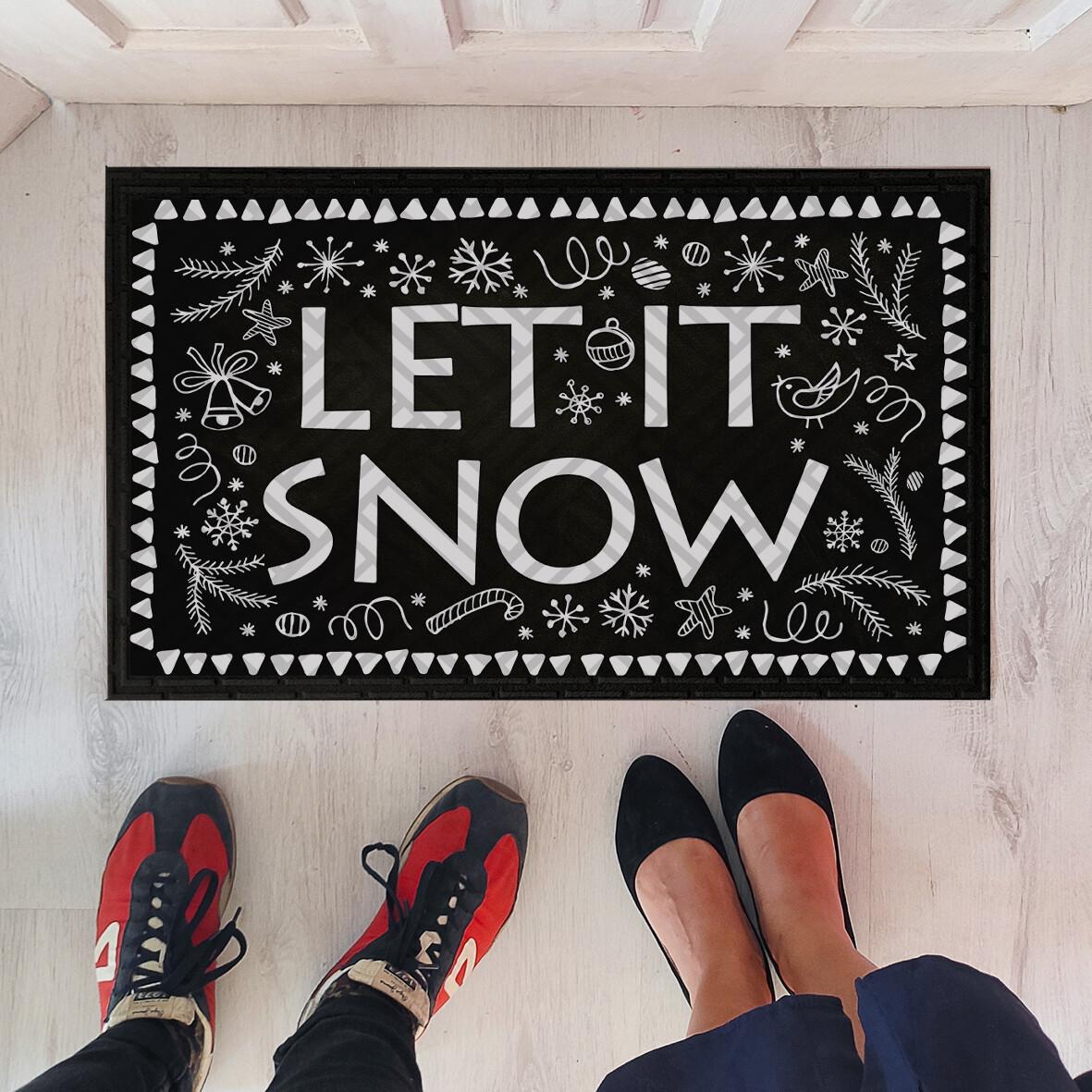 Придверні килимок чорний не ковзний з зимовим принтом Let it snow