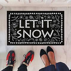 Коврик придверный черный не скользящий с зимним принтом Let it snow
