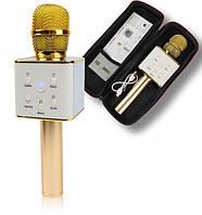 Микрофон Караоке с чехлом Q7 Золотой