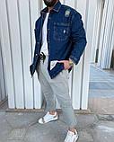 Чоловіча джинсова сорочка синя, фото 2