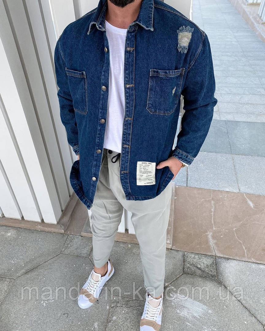 Чоловіча джинсова сорочка синя