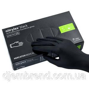 Перчатки черные Nitrylex black, нитриловые, размер S, 100 шт (нитрелекс блек)