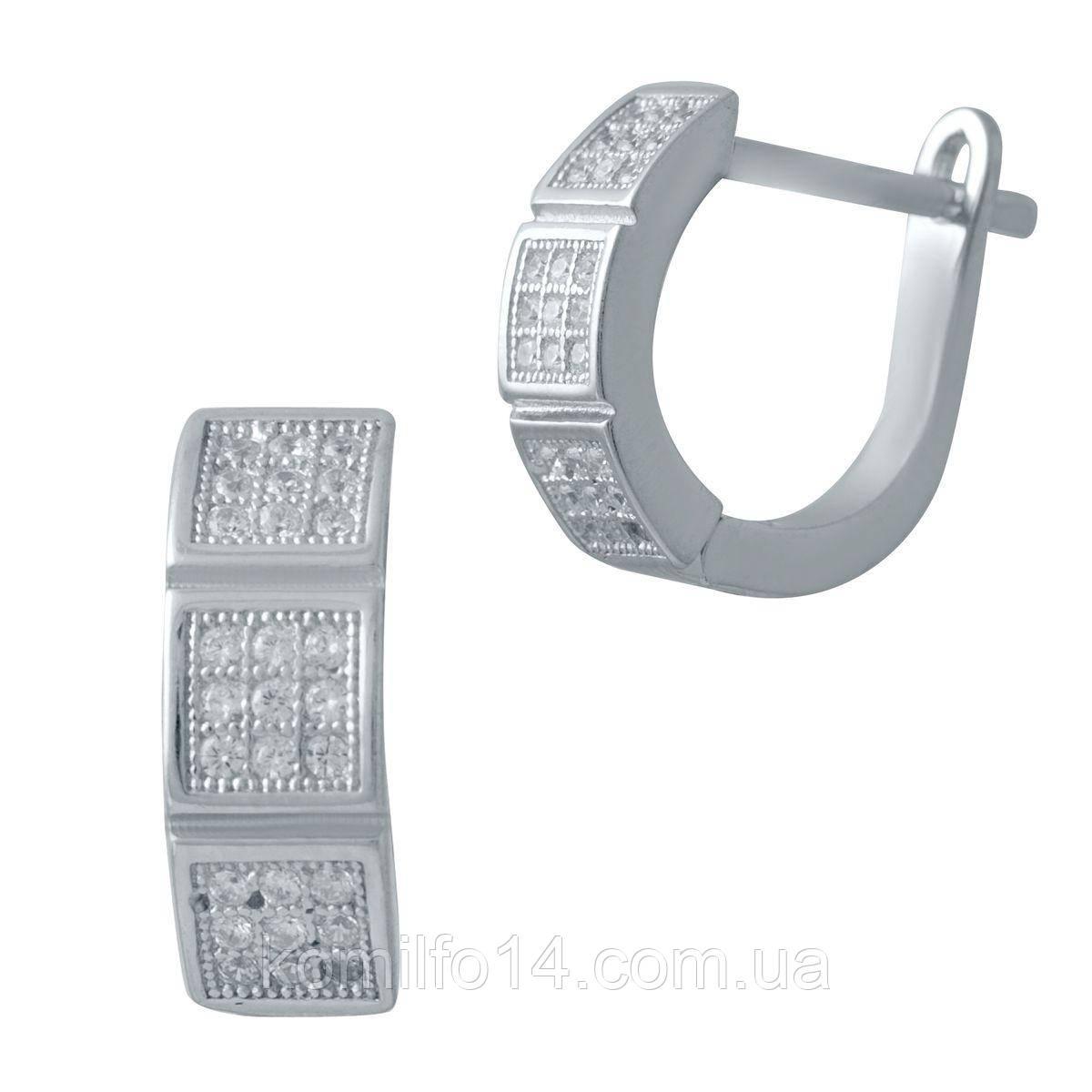 Серебряные серьги Komilfo с фианитами (2032410)