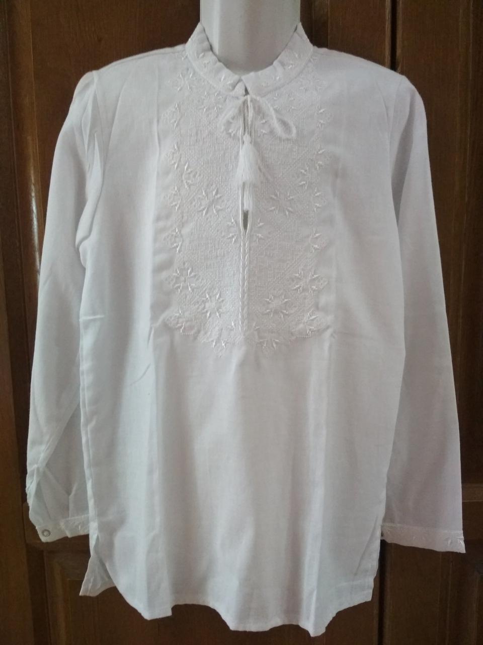 Вишиванка для хлопця, біла по білому  вишивка, на 140 зріст