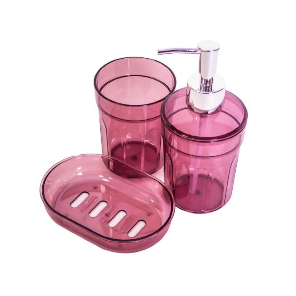 Набор аксессуаров для ванной Eco Fabric MOON (3 предмета) TRL-2032-TM, прозрачно-бордовый