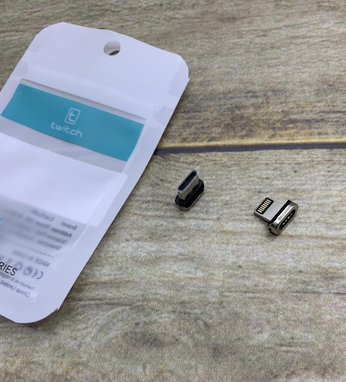 Магнитный переходник дополнительный/ коннектор на магнитный зарядный USB кабель/ Type-C/ Lightning (iPhone)