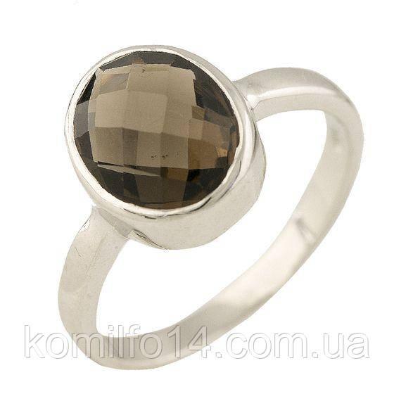 Серебряное кольцо с натуральным раухтопазом (дымчатый кварц)