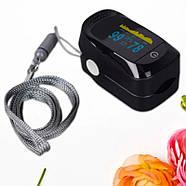 Пульсоксиметр оксиметром JETIX A2 Pulse Oximeter Чорний | Прилад для вимірювання пульсу і кисню в крові оптом, фото 2