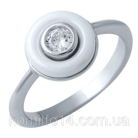 Срібне кільце Komilfo с , керамікою (1908334) 17 розмір, фото 2