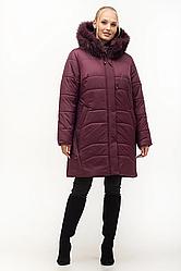 Зимняя куртка женская с натуральным мехом большого размера 54-70