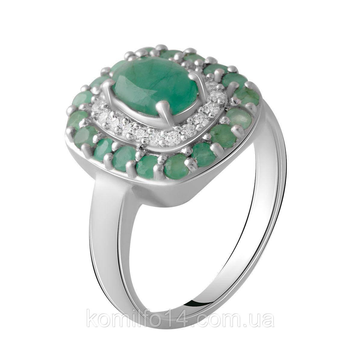 Серебряное кольцо с натуральным изумрудом р17