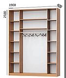 Шкаф-купе трехдверный 1900х400х2500, дуб сонома+зеркало  (Мебель С тар) Акция, фото 3