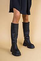 Сапоги-трубы женские кожаные черные, зимние