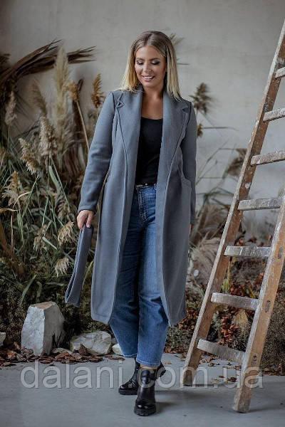 Кашемировое женское серое пальто миди с поясом