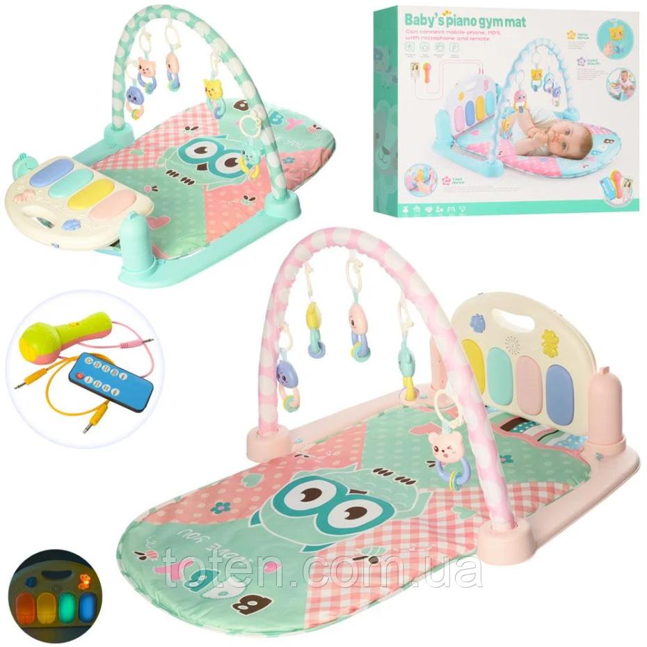 Килимок для немовляти 9915B з піаніно, МР3, мікрофон, музика, світло