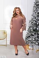 Шикарное вечернее нарядное платье из креп-дайвинга с дорогой вышивкой на сетке  р: 56-58, 60-62 арт. 369
