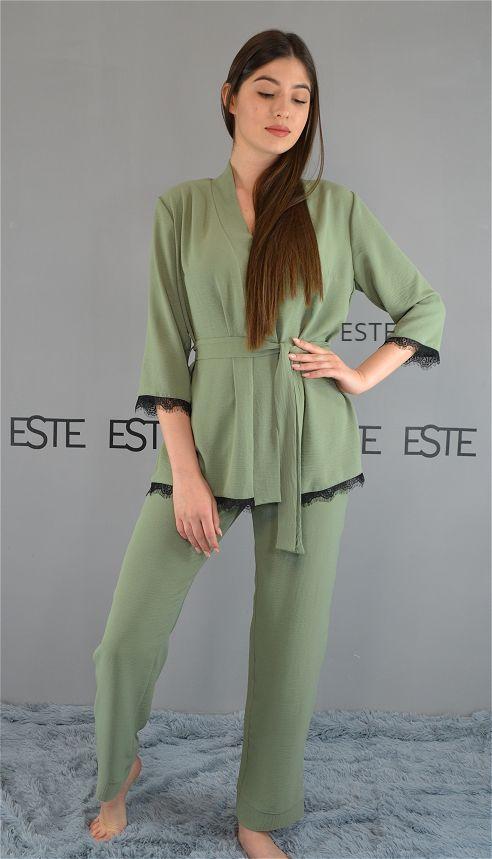 Комплект в пижамном стиле. Халат-жакет и штаны 610 хаки.