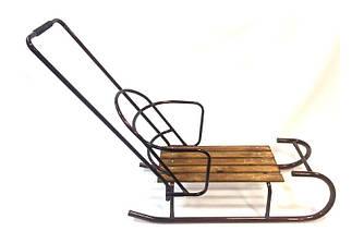 """Санки """"Царські"""" малі (Коричневий) зі знімною спинкою й ручкою штовхачем"""