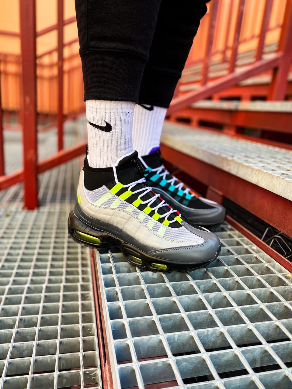 Зимние Мужские черные Кроссовки Nike Air Max Sneakerboot 95