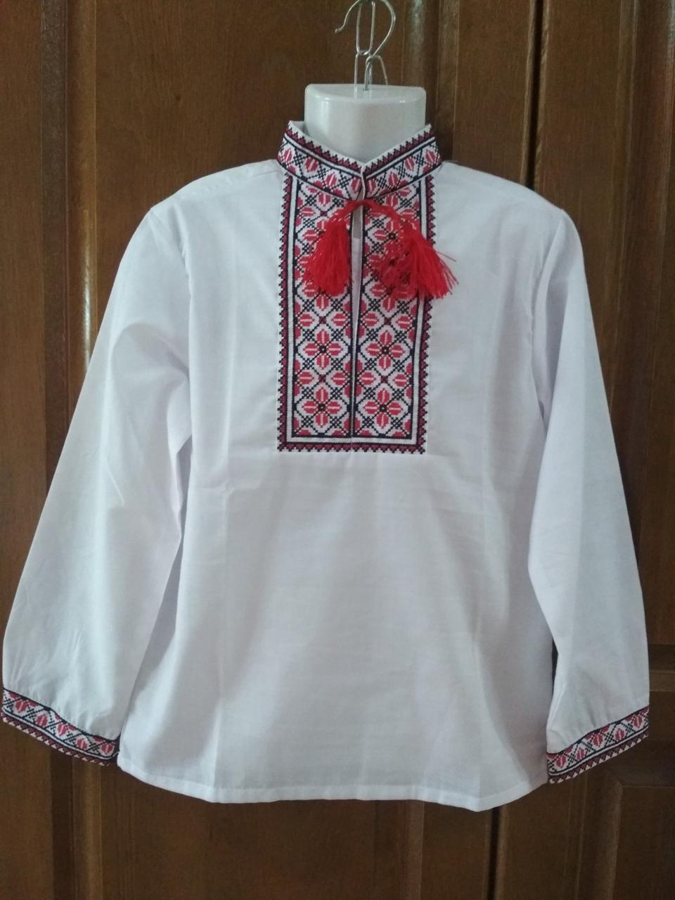 Вишиванка для хлопчика з червоно-чорною вишивкою зріст 134 см
