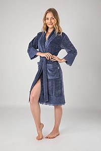 Халат жіночий Nusa 191 сіро-синій