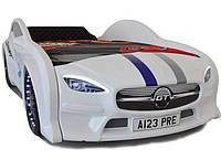 Кровать машина Mersedes GT с подсветкой 80х160 белая, фото 1