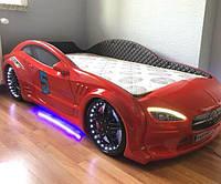 Кровать машина Mersedes GT с подсветкой 80х160 красная, фото 1