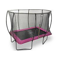 Батут EXIT Silhouette с защитной сеткой прямоугольный 214x305см розовый на ножках, фото 1